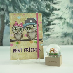 Best Friends Baykuş  Ajanda&Kar Küresi Hediye Seti