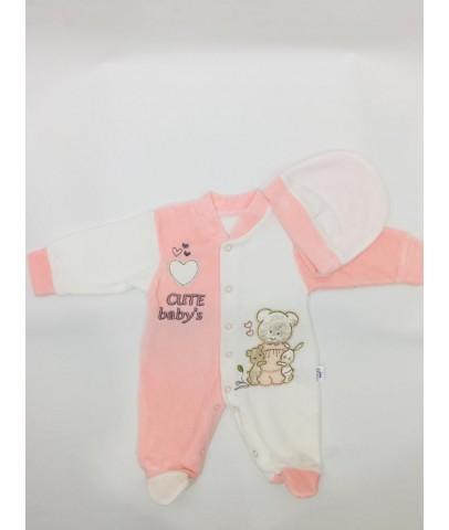 Tulum - Cute Baby Kadife Şapkalı Patikli Tulum