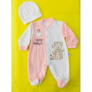 Cute Baby Kadife Şapkalı Patikli Tulum