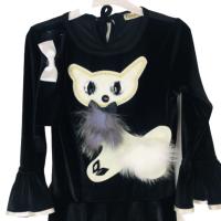 Kedicik İnce Kadife Prenses Elbisesi