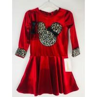 Leopar Kırmızı Kadife Prenses Elbisesi