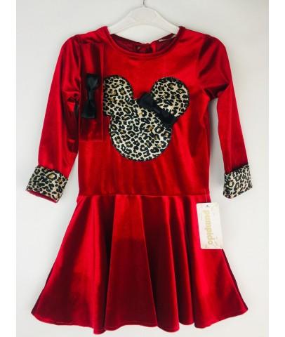 Elbise & Jile - Leopar Kırmızı Kadife Prenses Elbisesi