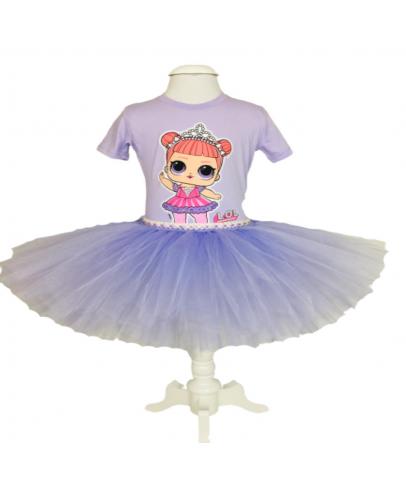 Elbise & Jile - Lol Bebek Figürlü Tişört ve Kabarık Tütülü Etek Takım(Toka Hediyeli) 4-5 Yaş