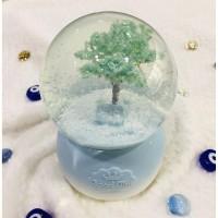 Mavi Ağaç Büyük Boy Otomatik Kar Püskürten Kar Küresi,Müzik Kutusu