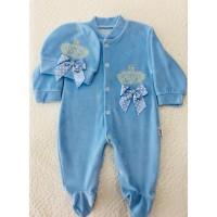 Mavi Prens Kadife Patikli Şapkalı Bebek Tulumu