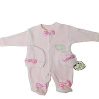Prenses Kadife Patikli Şapkalı/Eldivenli Bebek Tulumu-62 cm