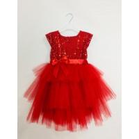 Pumpido Kids Kız Çocukları İçin Pullu Tüllü Elbise-Kırmızı