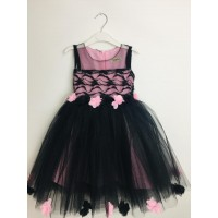 Pumpido Kids Kız Çocukları İçin Tüllü Etek Ucu Güllü Elbise