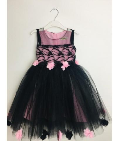 Elbise & Jile - Pumpido Kids Kız Çocukları İçin Tüllü Etek Ucu Güllü Elbise