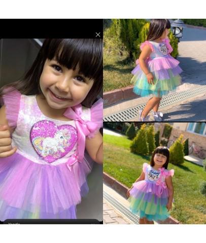 Elbise & Jile - Pumpido Kids Pony Pullu Tüllü Elbise
