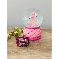 Flamingo Büyük Boy Işıklı,Simli,Müzikli Kar Küresi