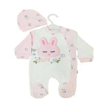 Uykucu Tavşan Şapkalı Bebek Tulumu