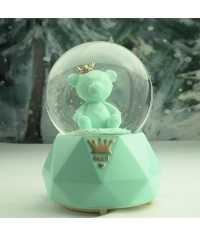 Yeşil Ayıcık Büyük Boy Otomatik Kar Püskürten Kar Küresi,Müzik Kutusu